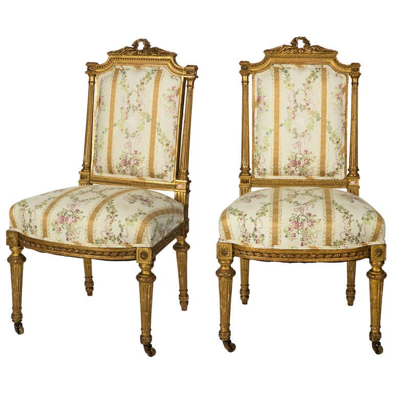 A Pair Of Period French Chairs With Missoni Fabric At 1stdibs: 19th Century Pair Of Louis XVI Style French Gilt