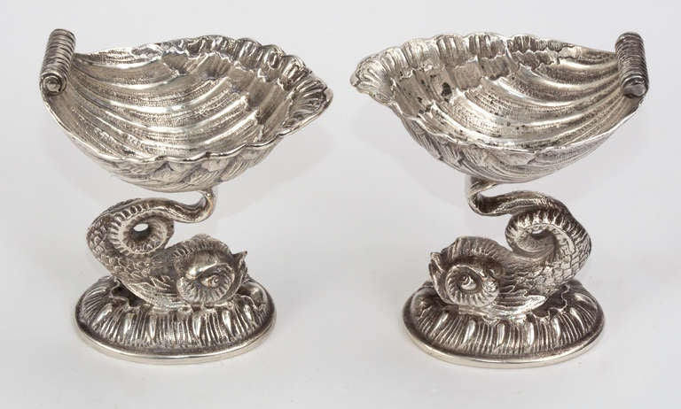 Pair English Silver Plate Dolphin Salt Cellars For Sale At