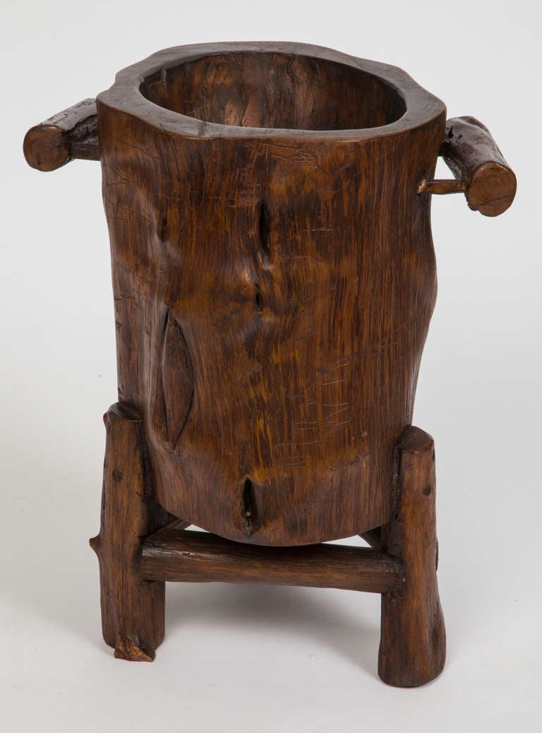 Wood trunk cane or umbrella stand at stdibs