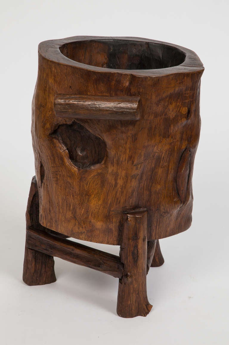 Wooden Umbrella Stand ~ Wood trunk cane or umbrella stand at stdibs