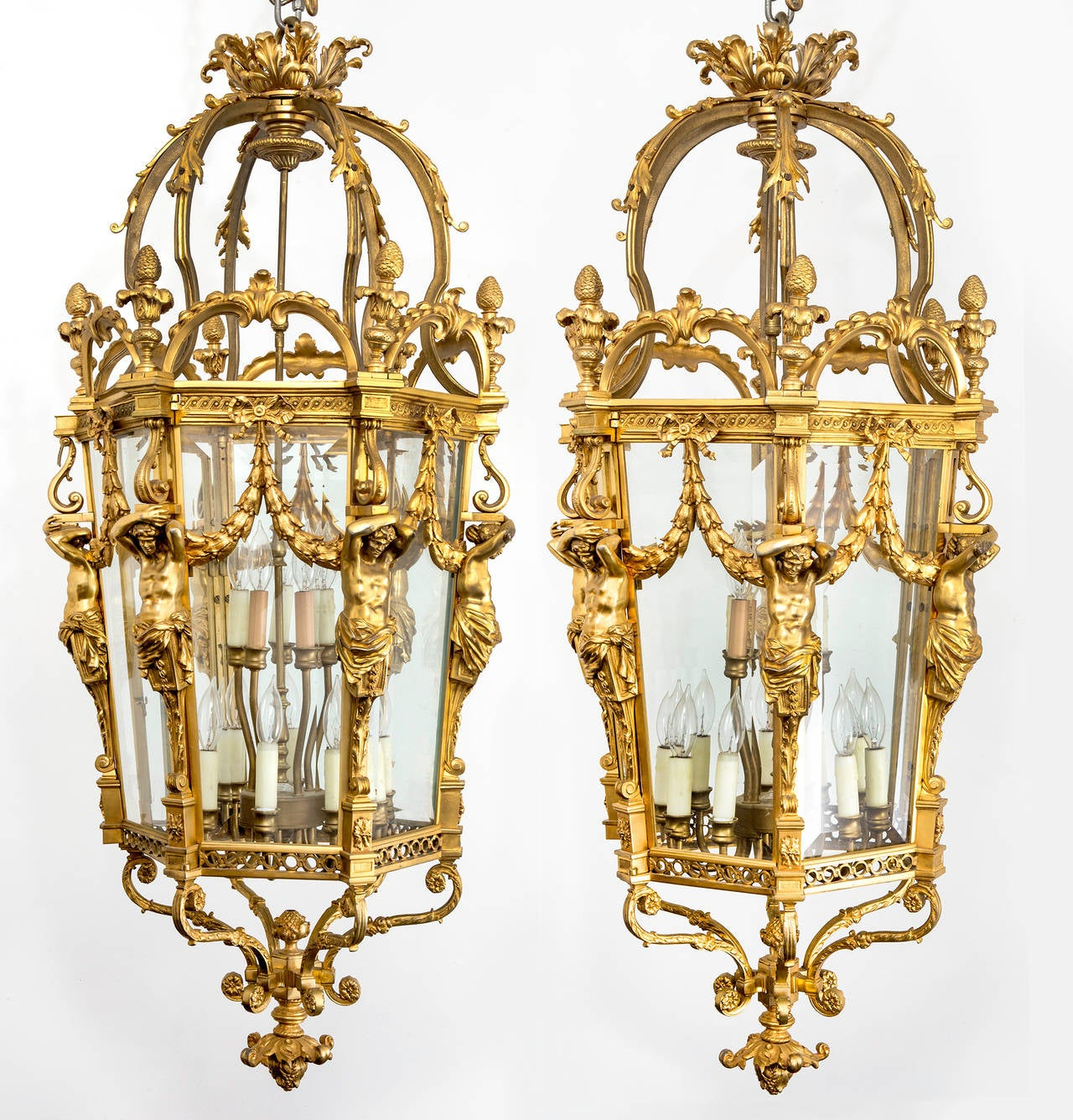 Fabulous French Bronze Dore Chandelier Lantern Pair Or