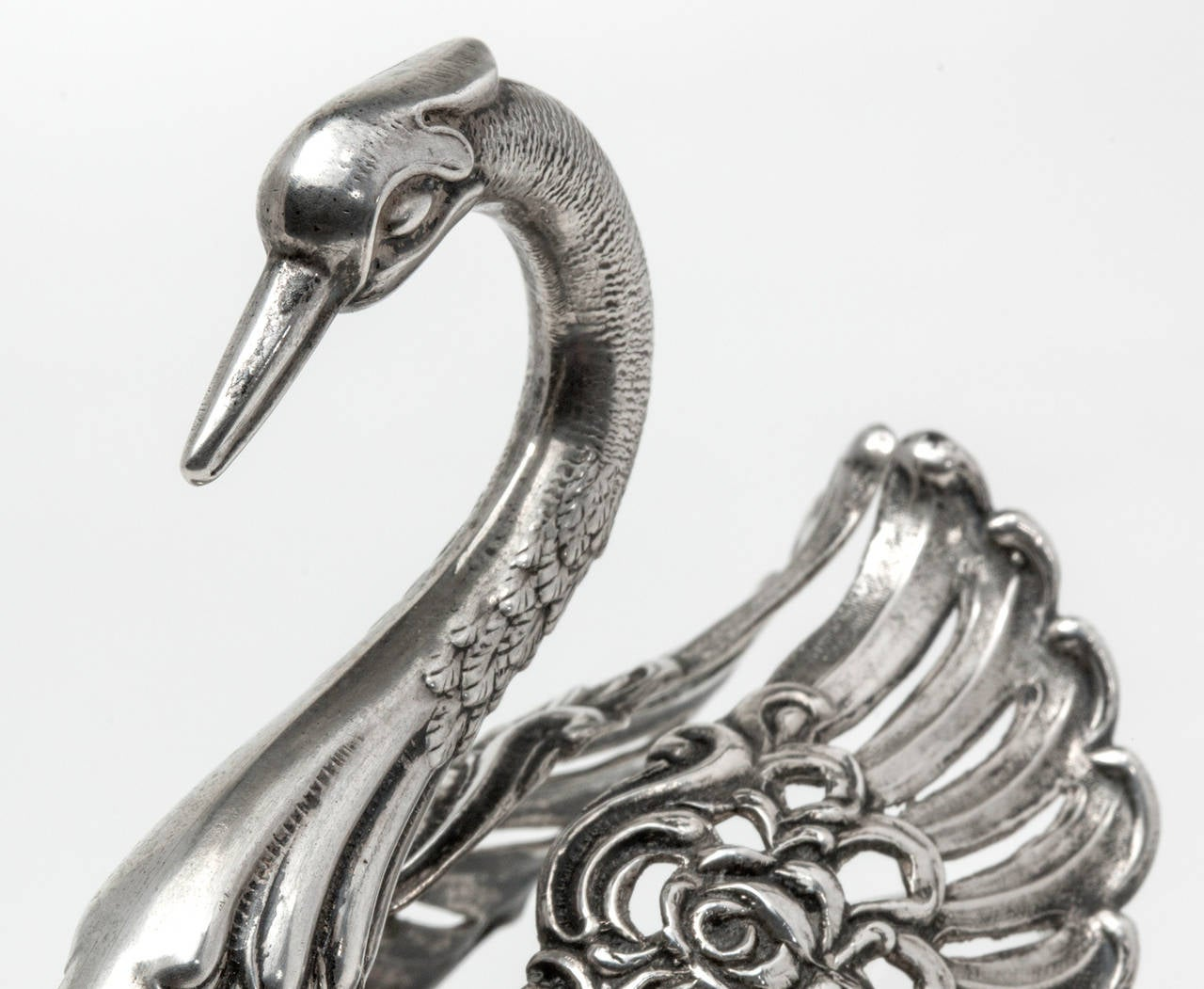 800 Silver and Crystal Swan Salter Set of 3 For Sale 4