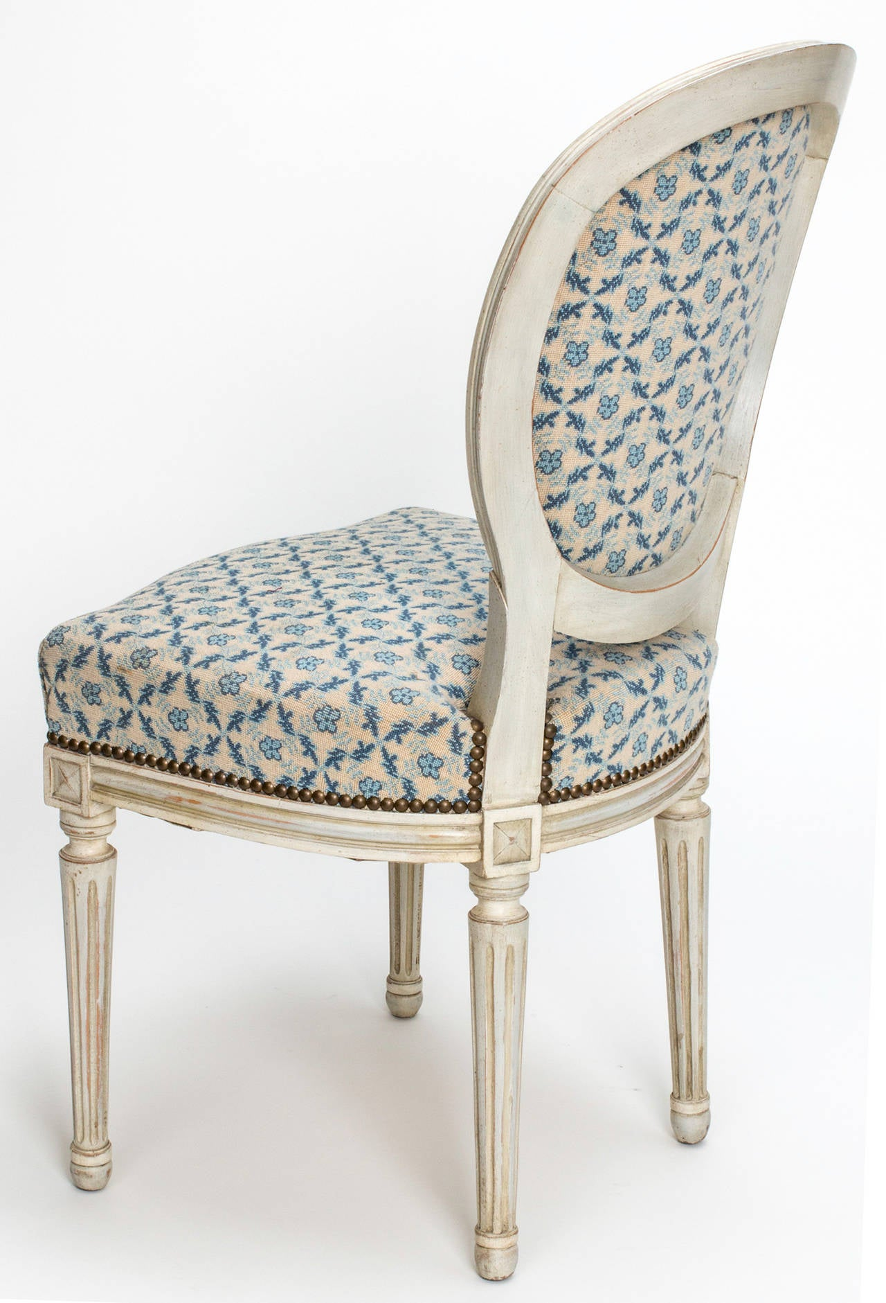 C 1890s Louis XVI Style Painted Dining Chairs set of four