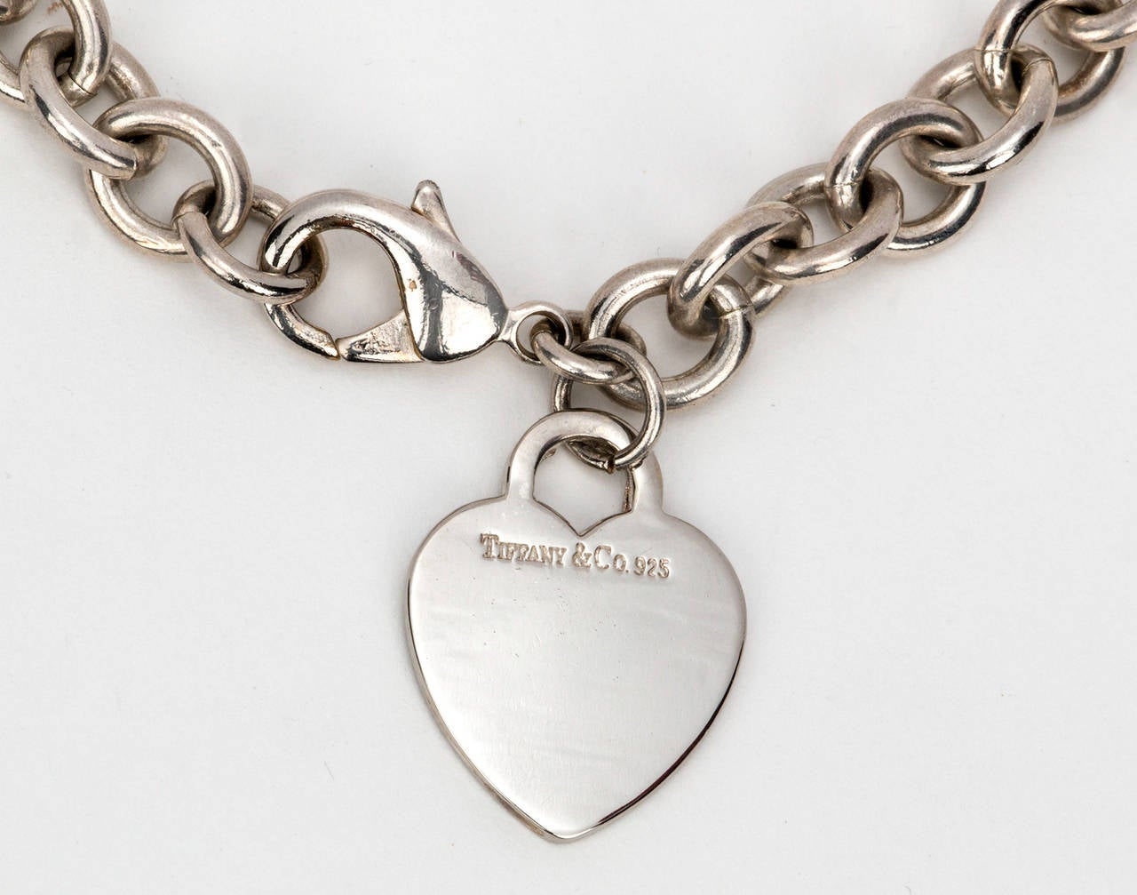 Tiffany And Co Sterling Silver Heart Chain Necklace For