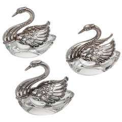 800 Silver and Crystal Swan Salter Set of 3