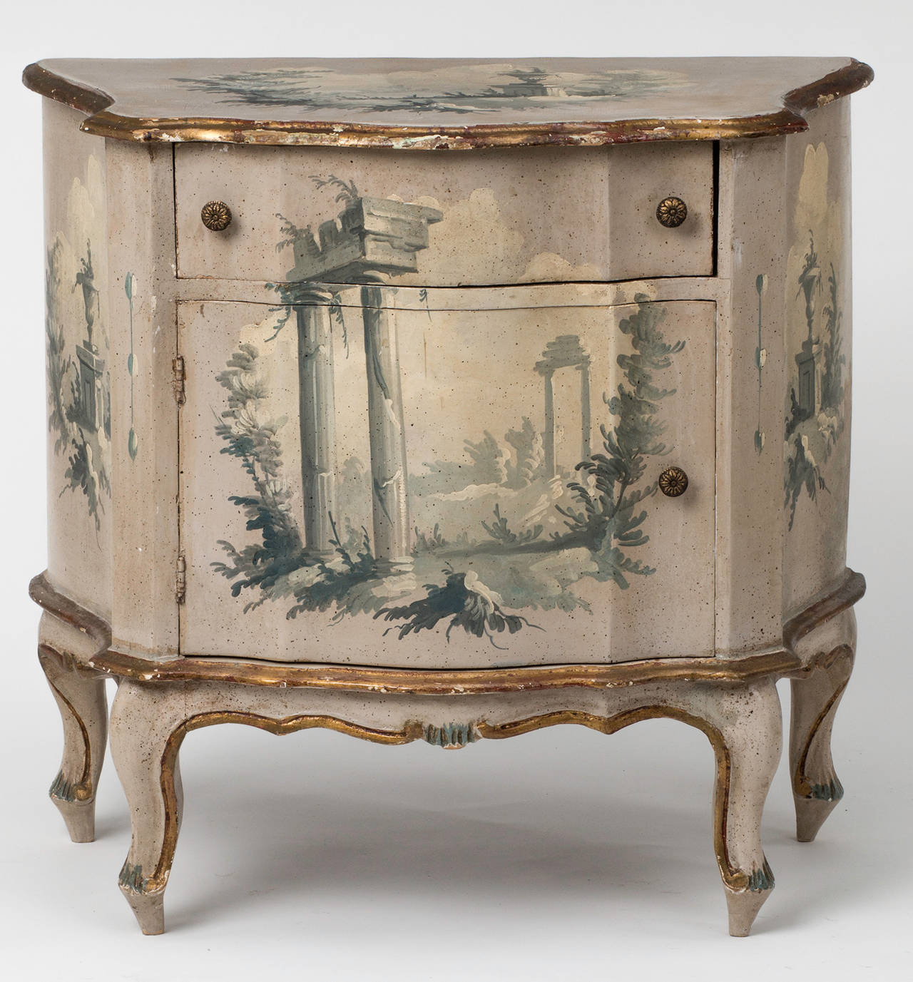 C 1930s small italian painted bombe chest at 1stdibs for Italian painted furniture