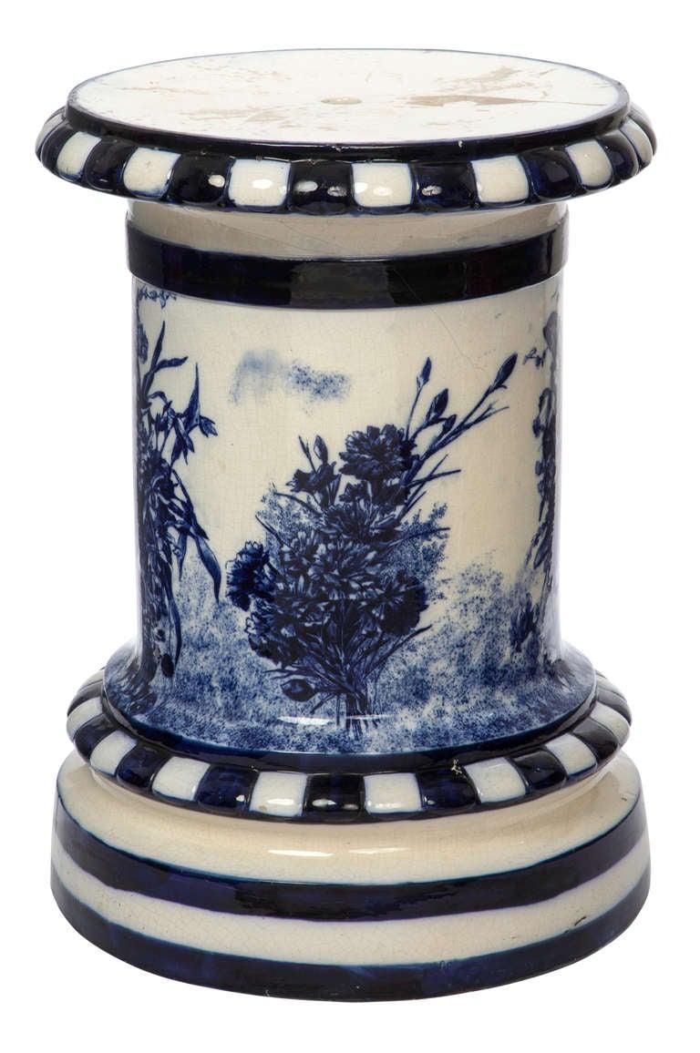 1920s large english flow blue ceramic pedestal for sale at 1stdibs - Ceramic pedestal table base ...