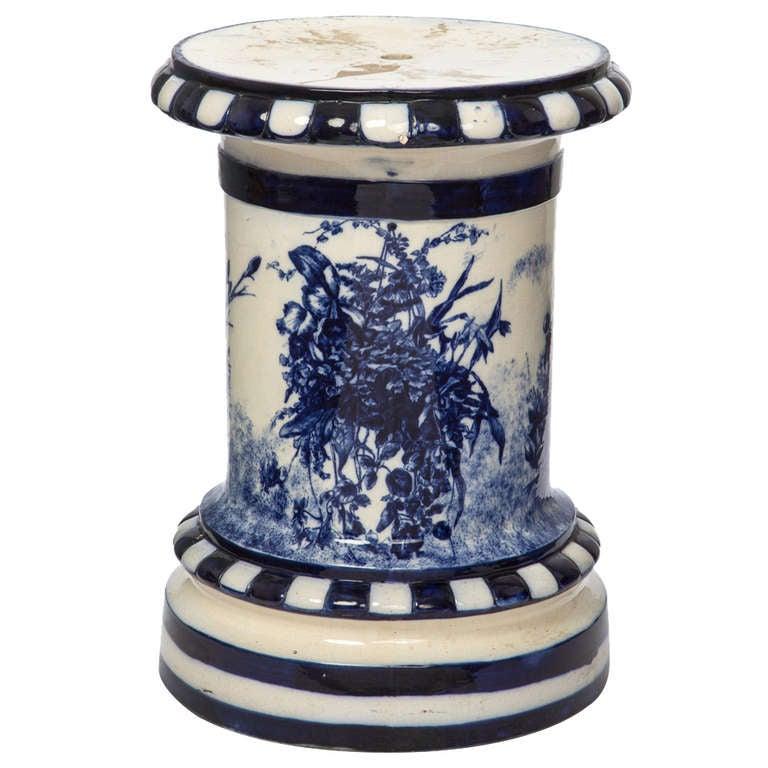 1920s large english flow blue pedestal for sale at 1stdibs - Ceramic pedestal table base ...