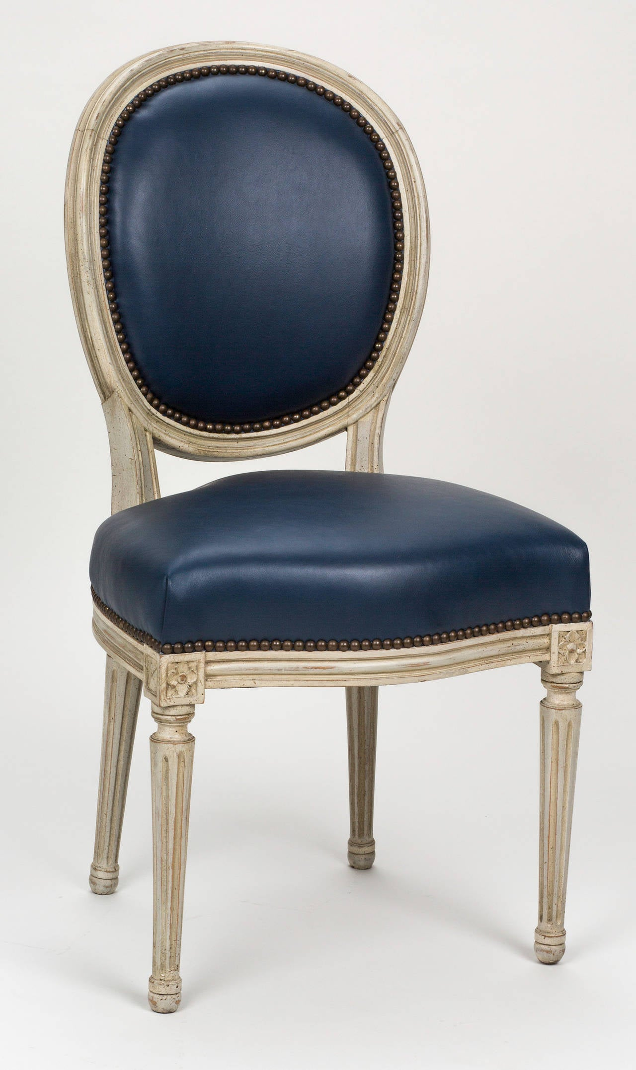 Pair of French Louis XVI Style Leather Chairs circa 1880s at 1stdibs