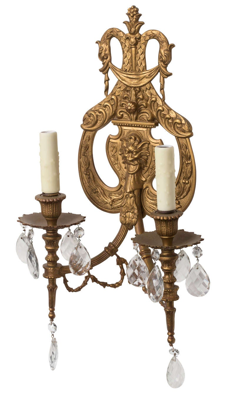 Wall Sconces In Bronze : Pair of Bronze Dore Wall Sconces at 1stdibs