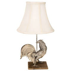 Silver Plate Rooster Lamp