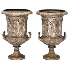 19th Century Medici Style Bronze Urns, Pair