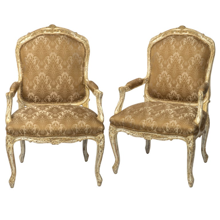 Pair white washed louis xv style arm chairs at stdibs