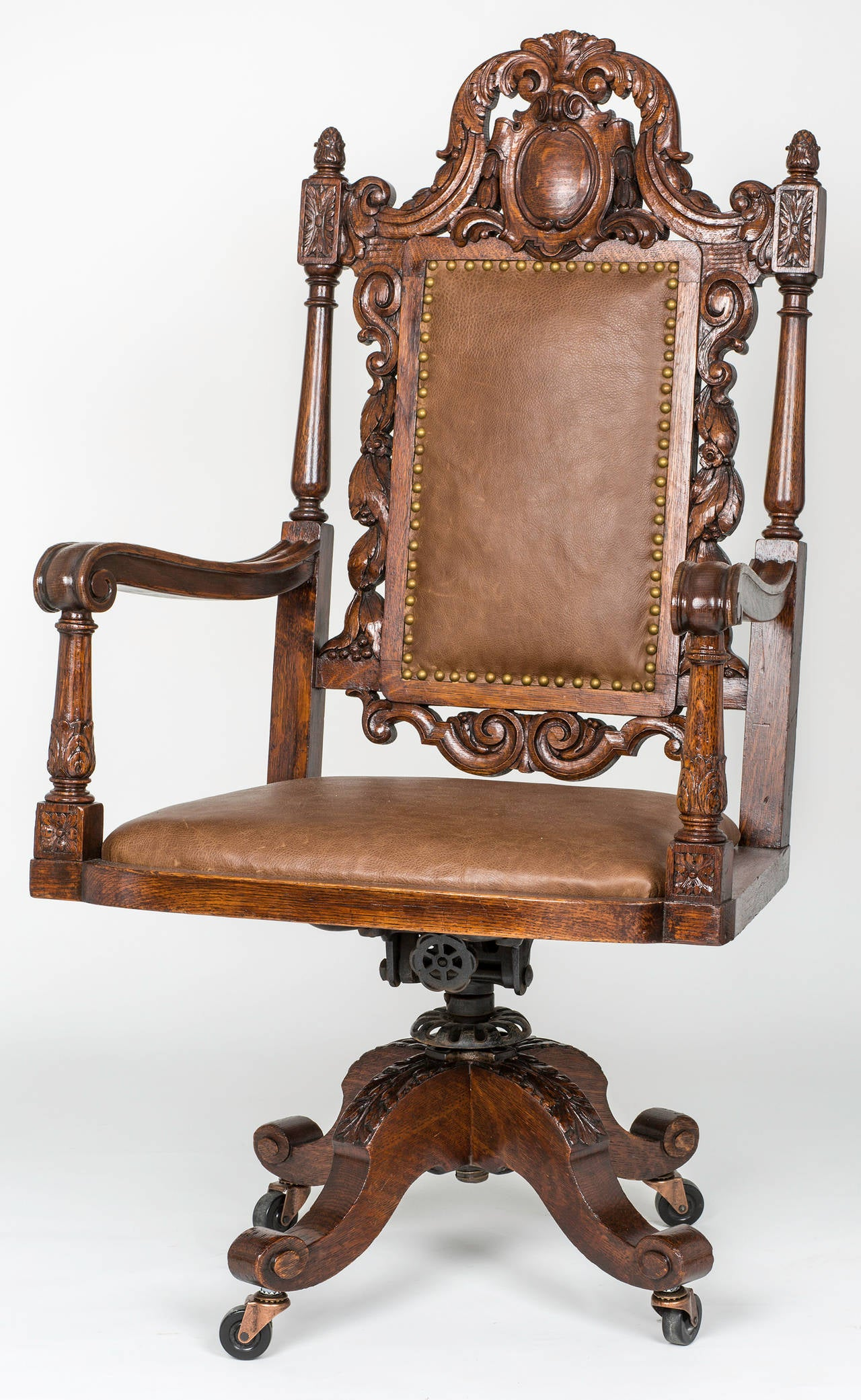 Large executive leather swivel desk chair for sale at 1stdibs for Chair with swivel desk