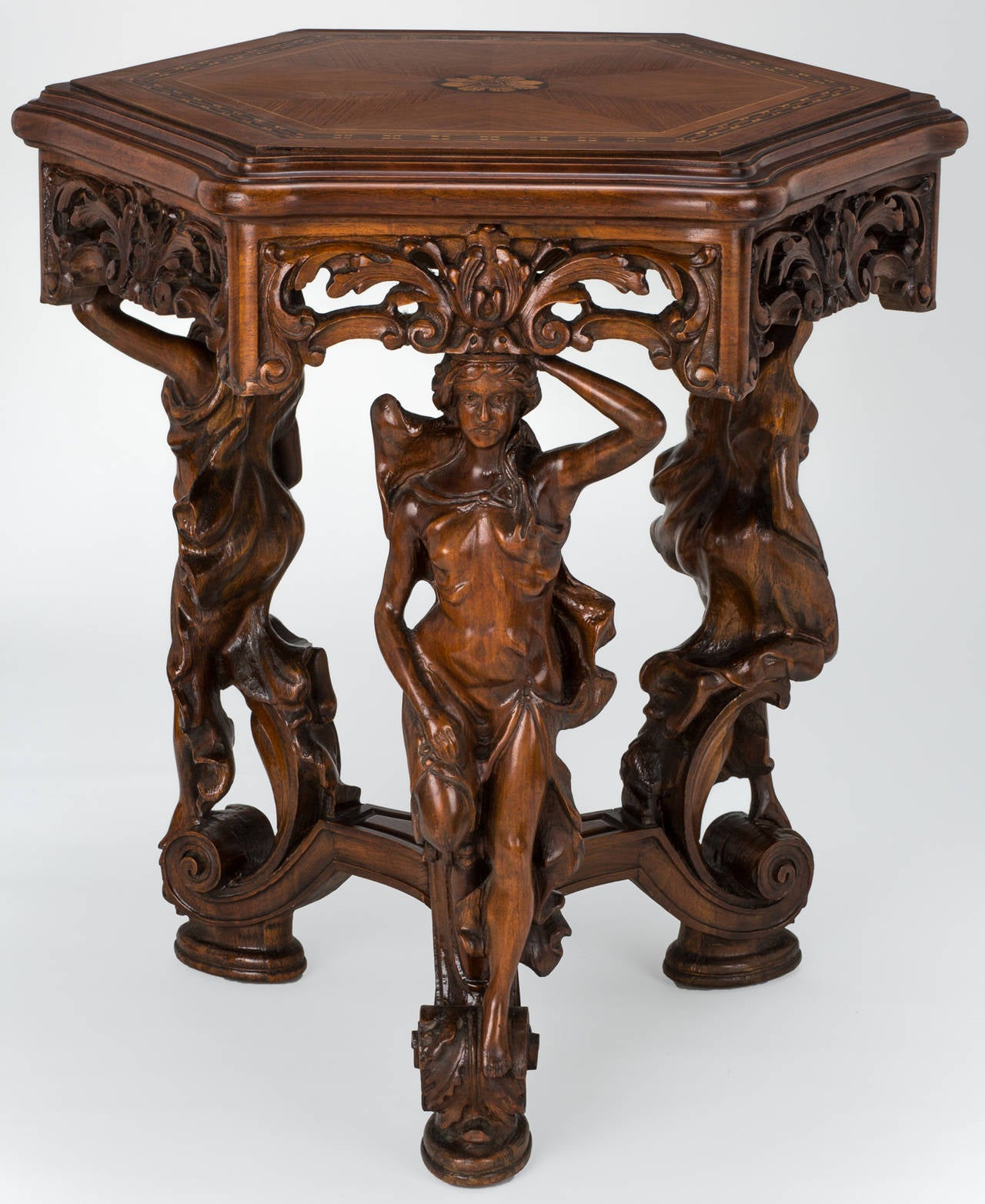 Marquetry Top Art Nouveau Carved Figurine Center Table At
