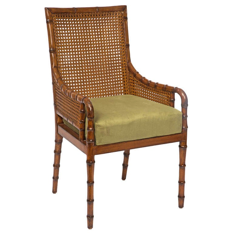 Bamboo Chair With Arms: Double Cane Faux Bamboo Arm Chair At 1stdibs
