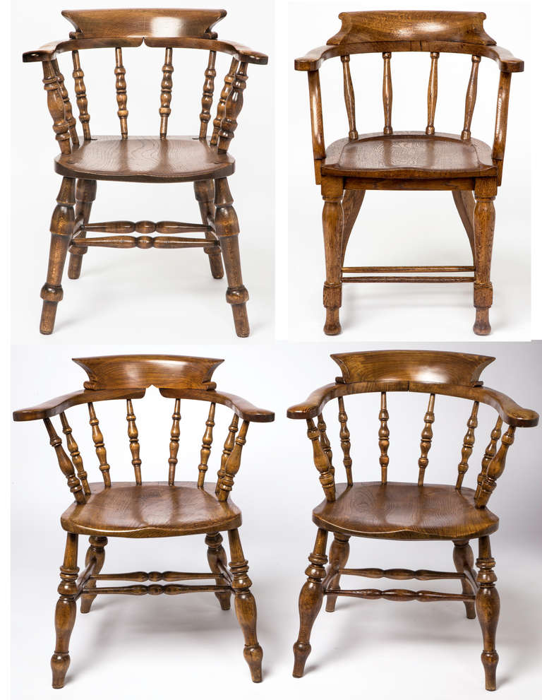 Merveilleux Four Individual English Style Captain Or Pub Chairs. Each One Slightly  Different. But Will