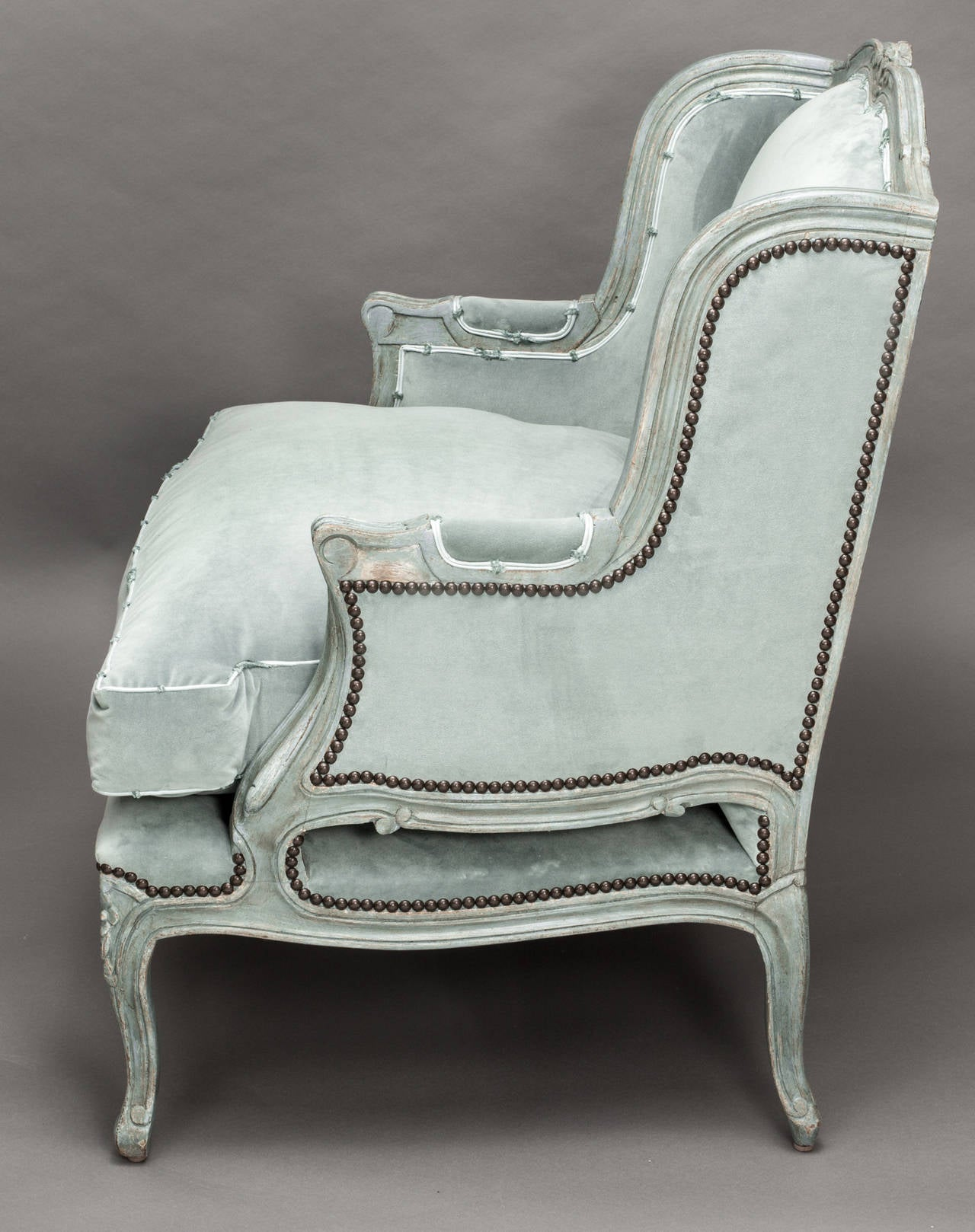 C 1880s French Painted Berg¨re Wing Back Chairs Pair at 1stdibs