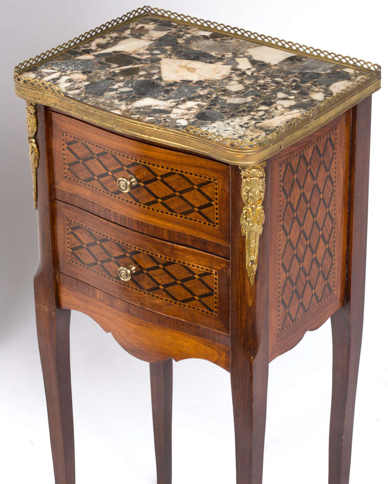 Pair Of Italian Marquetry Marble Top Night Stands At 1stdibs