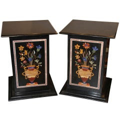 Marble Stone Inlay Specimen Pedestal Tables, Pair