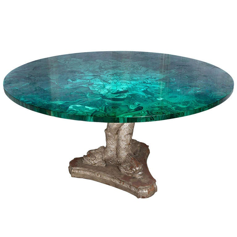 Rare Russian Malachite Stone Round Table At 1stdibs