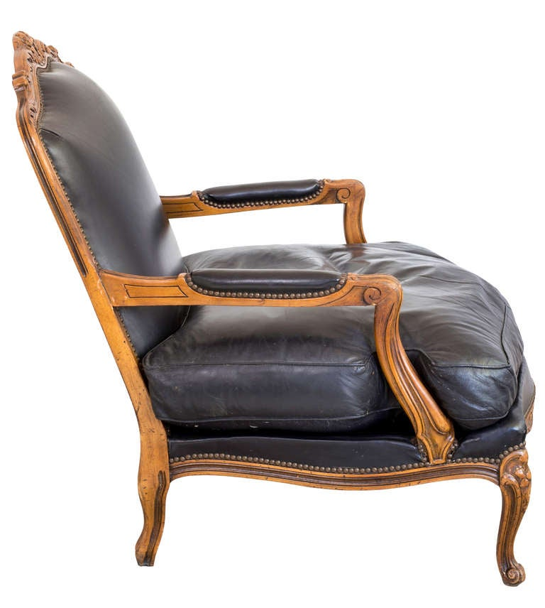 This napoleon iii club chair is no longer available - Leather Lounge Bergere Arm Chair For Sale At 1stdibs