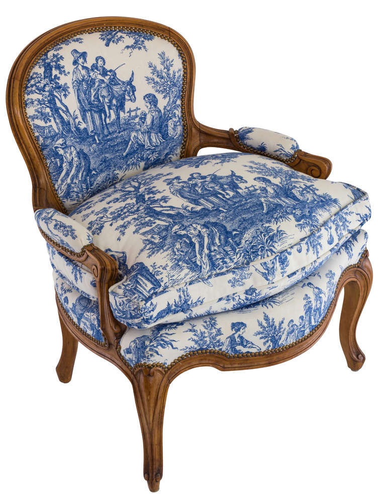 Surprising Blue And White Toile Country French Chair At 1Stdibs Machost Co Dining Chair Design Ideas Machostcouk