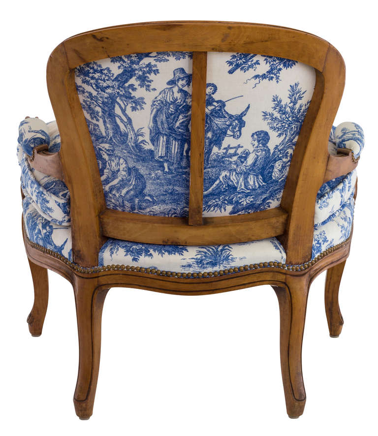 A Pair Of Period French Chairs With Missoni Fabric At 1stdibs: Blue And White Toile Country French Chair At 1stdibs