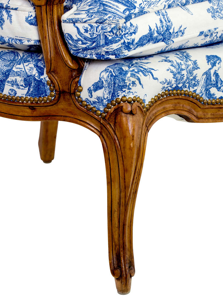 Blue And White Toile Country French Chair At 1stdibs