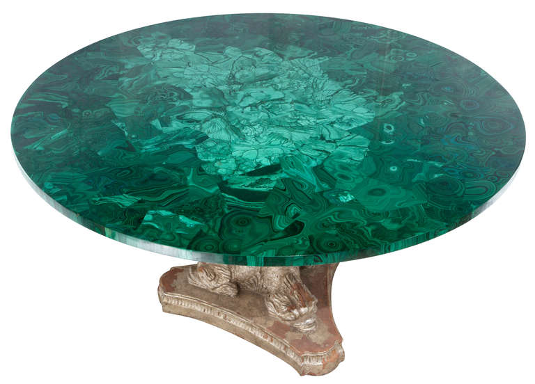 Rare Russian Malachite Stone Round Table For Sale At 1stdibs