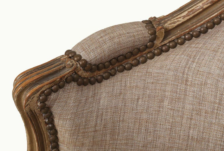 Late 1800s French Wood Frame Loveseat Settee  5