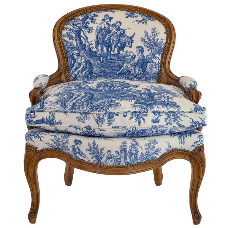 Blue U0026 White Toile Country French Chair For Sale