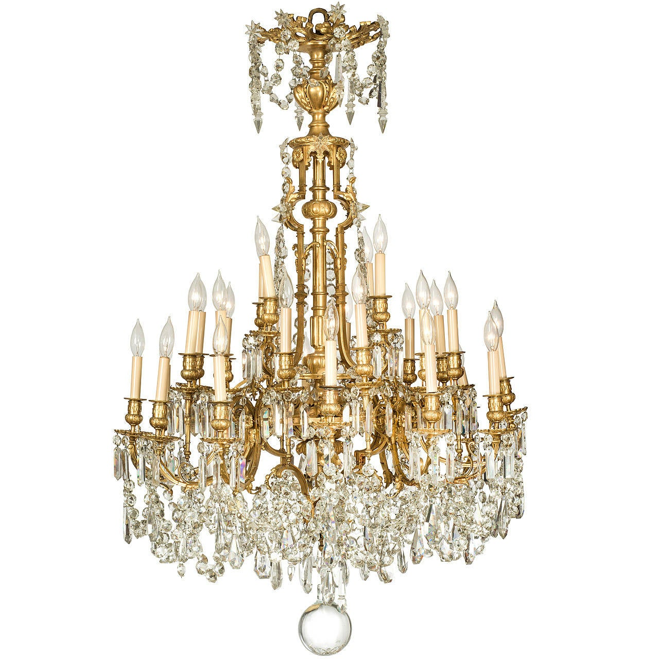 19th Century Bronze Dore Baccarat Chandelier At 1stdibs