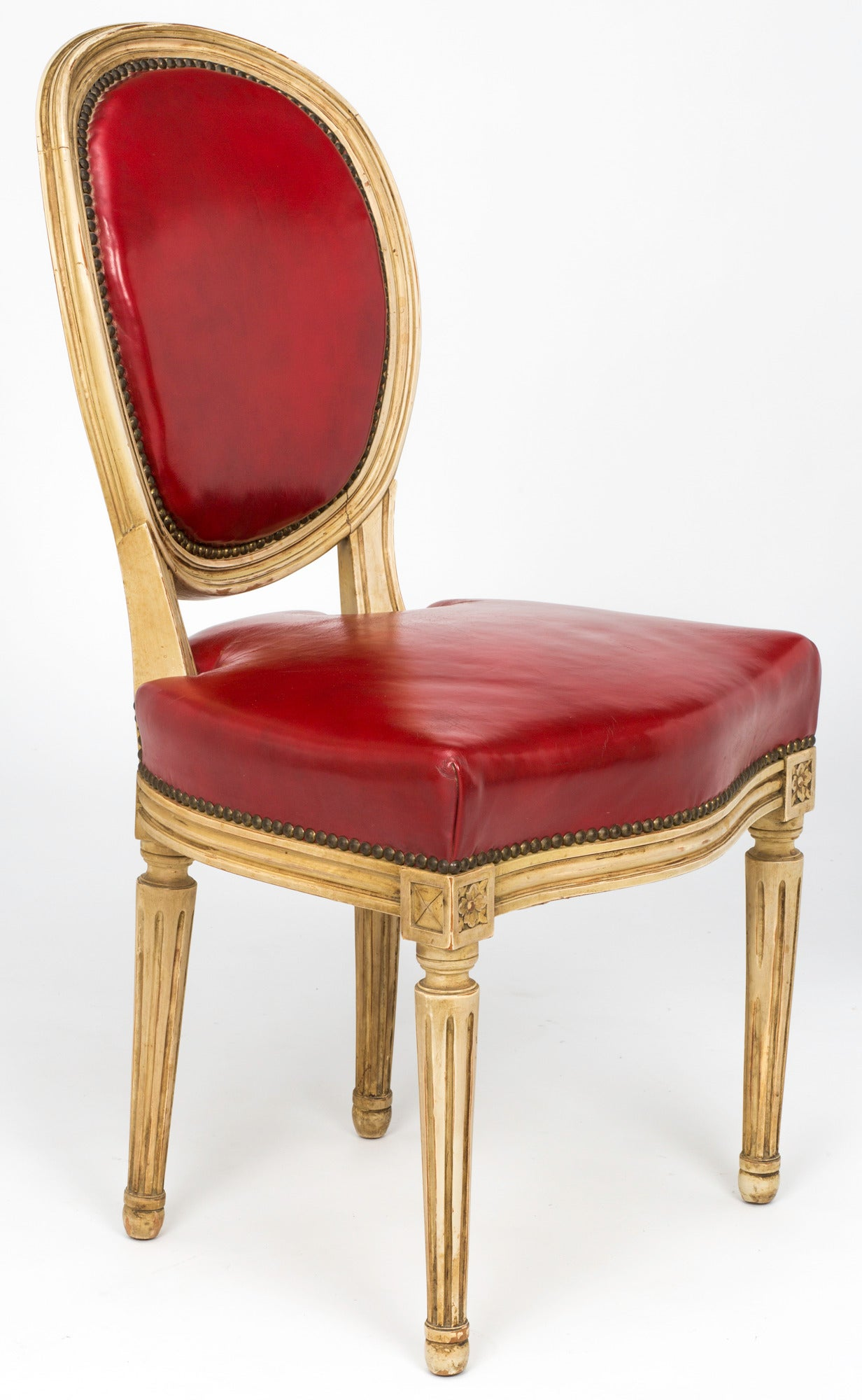 Pair Of French Louis Xvi Style Red Leather Chairs 19th