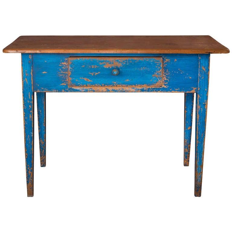 19th Century Painted Blue Pine Desk
