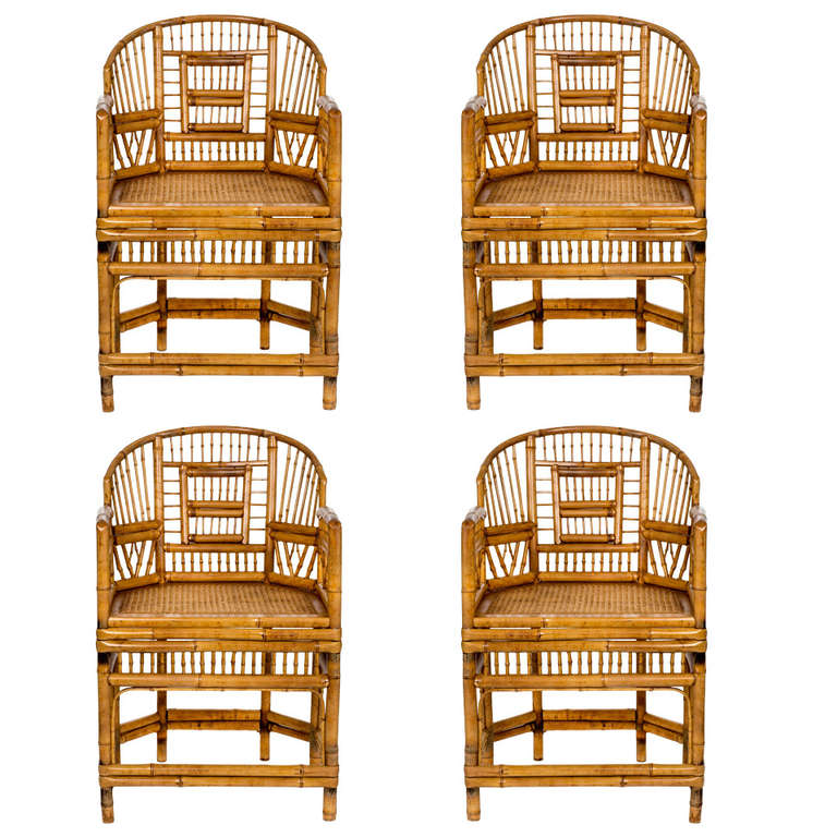 Chinese Export Bamboo Arm Chairs, Set Of Four At 1stdibs