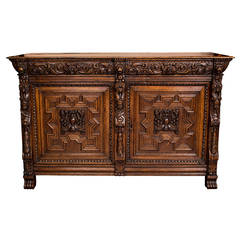 19th Century Carved Belgium Buffet Sideboard Cabinet