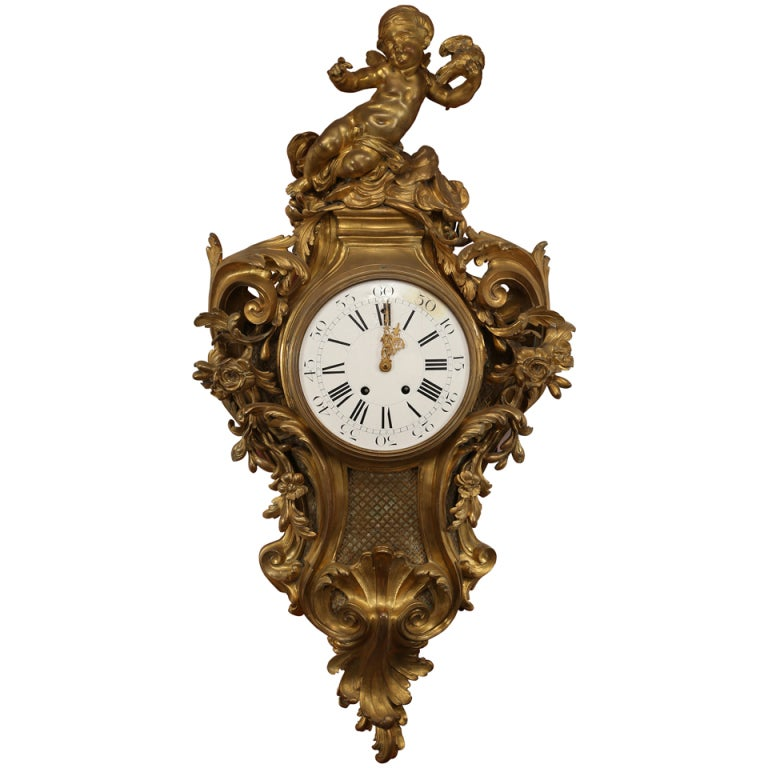 Romantic Large French Gilt Bronze Cherub Wall Clock For Sale at