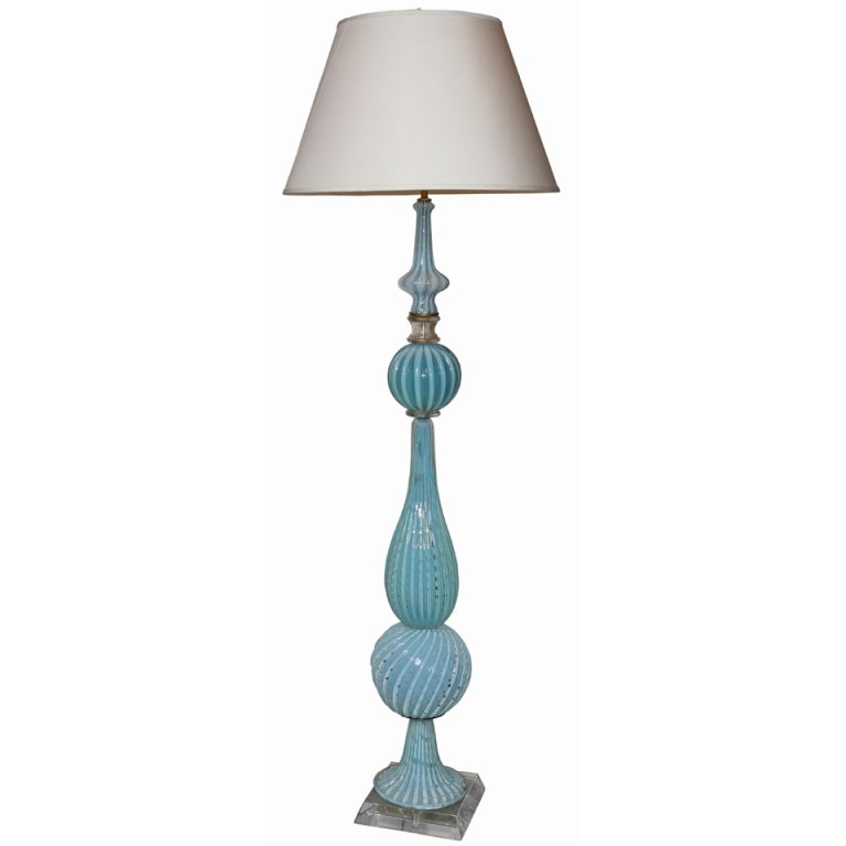 mid century aqua murano glass floor lamp at 1stdibs 87868