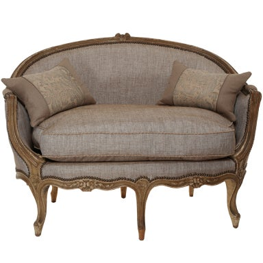 Late 1800s French Wood Frame Loveseat Settee