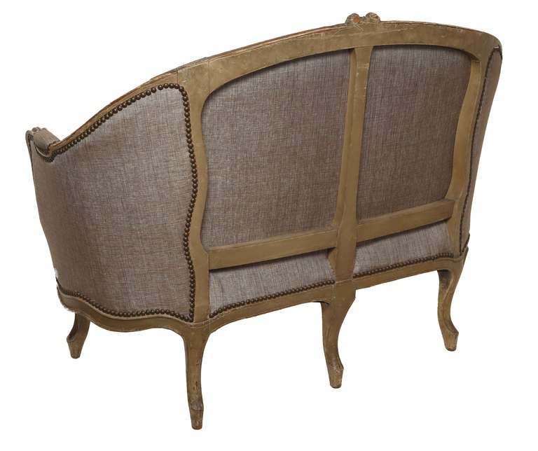 Late 1800s French Wood Frame Loveseat Settee  3