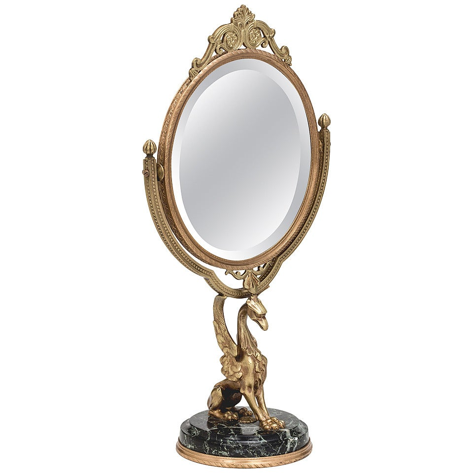 Bronze Griffin Vanity Table Mirror At 1stdibs
