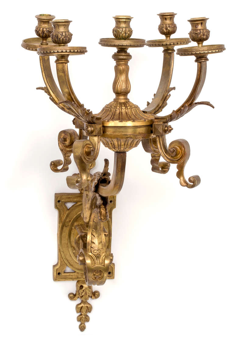 Wall Sconces Bronze : Grand Scale Gilt Bronze Wall Sconces, Pair at 1stdibs