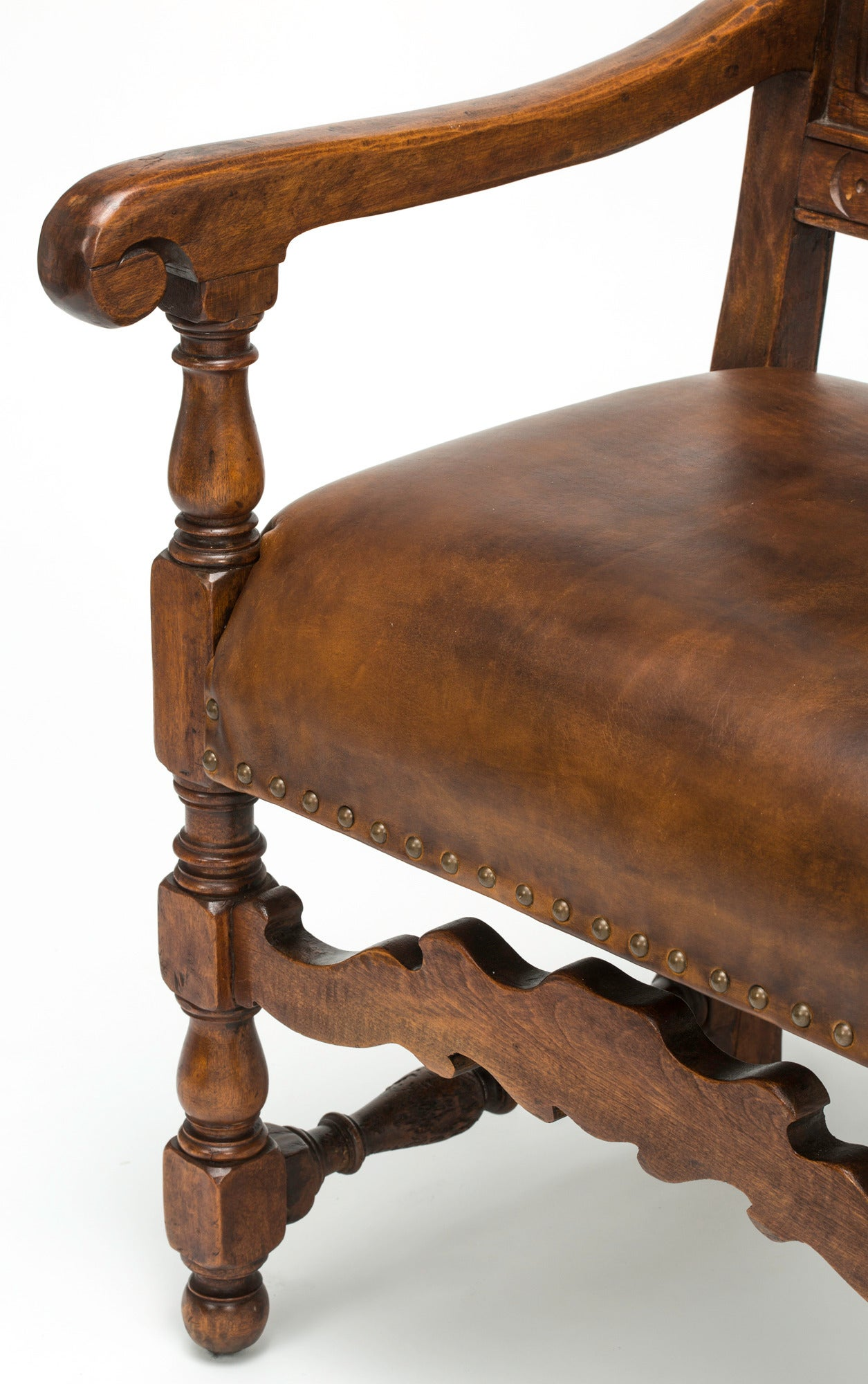 Pair of hand carved leather armchairs at stdibs