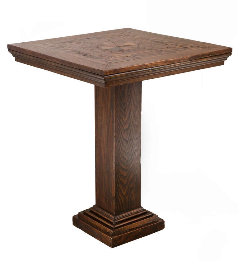 Arts And Crafts Arts U0026 Craft Marquetry Square Pedestal Table For Sale