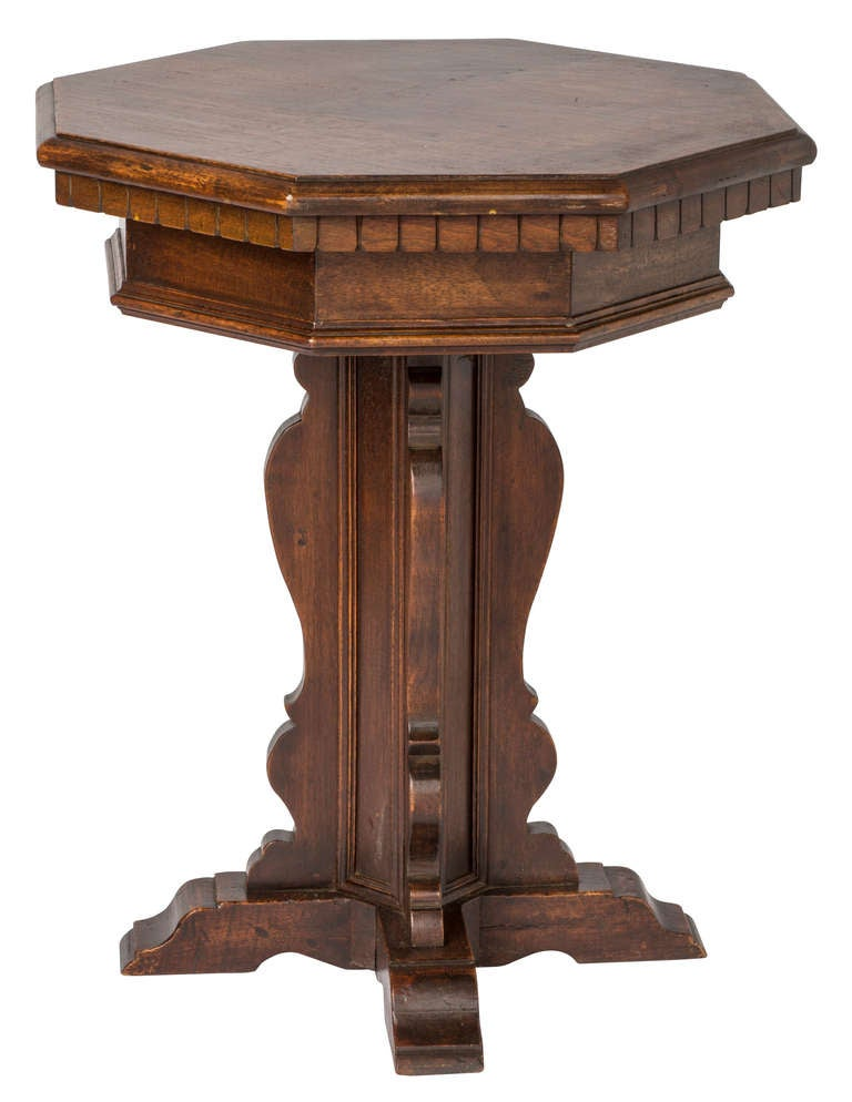 Narrow Pedestal : Small Octagon Walnut Pedestal Table at 1stdibs