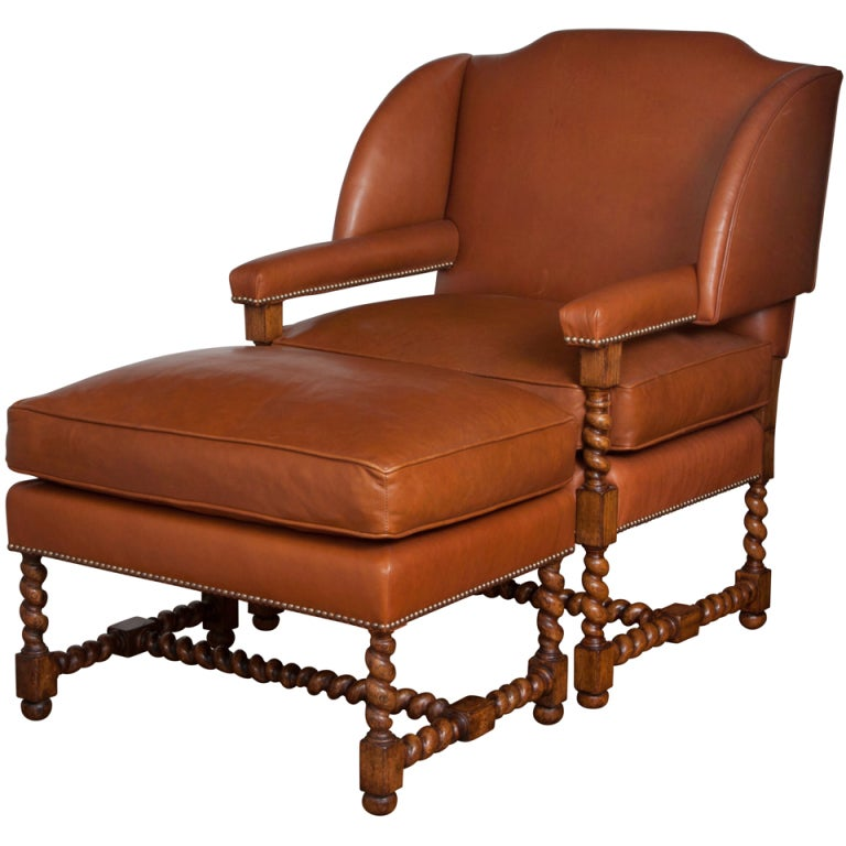 Leather Wing Chair with Ottoman at 1stdibs