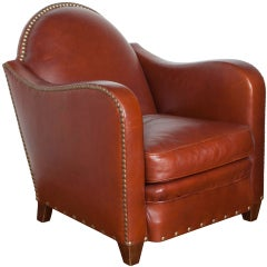 Art Deco Style Leather Lounge Chair