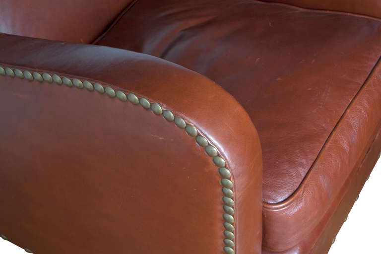 20th Century Art Deco Style Leather Lounge Chair For Sale