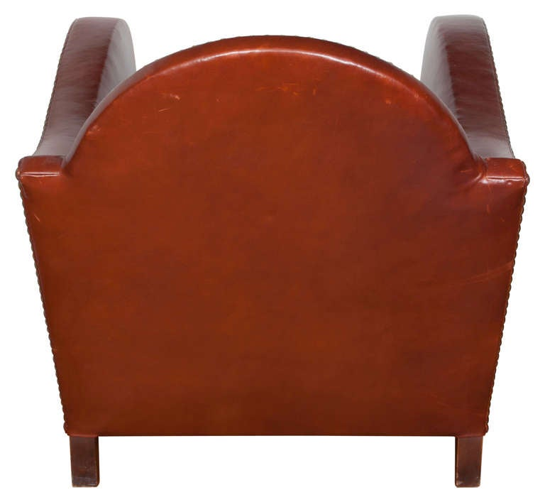 American Art Deco Style Leather Lounge Chair For Sale
